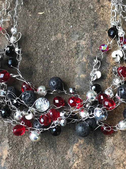 Red, Black, and Silver Wire Crochet