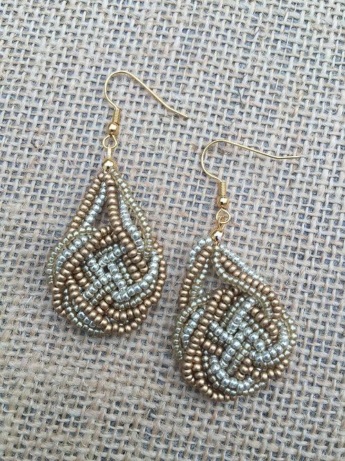 Knotted Metallic Seed Bead Earrings