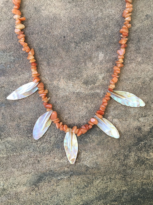 Red Aventurine with Mother of Pearl