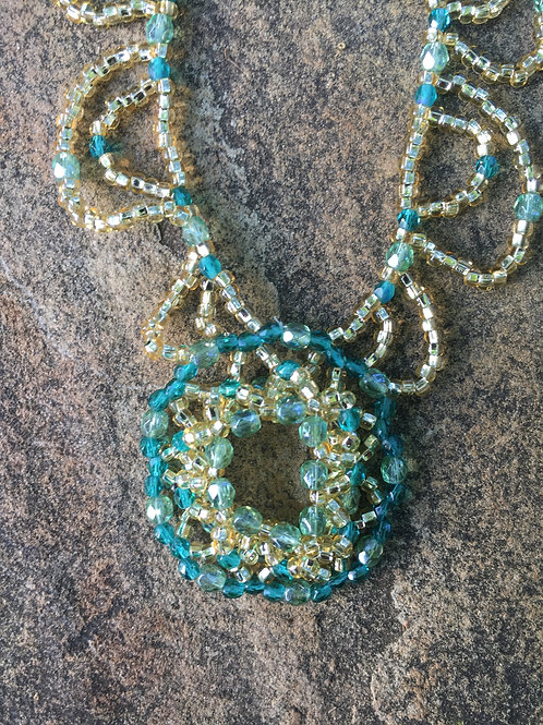 Beaded Turquoise, Gold, and Crystals