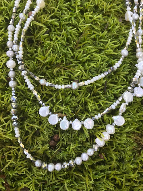Pearls and Silver Multistrand