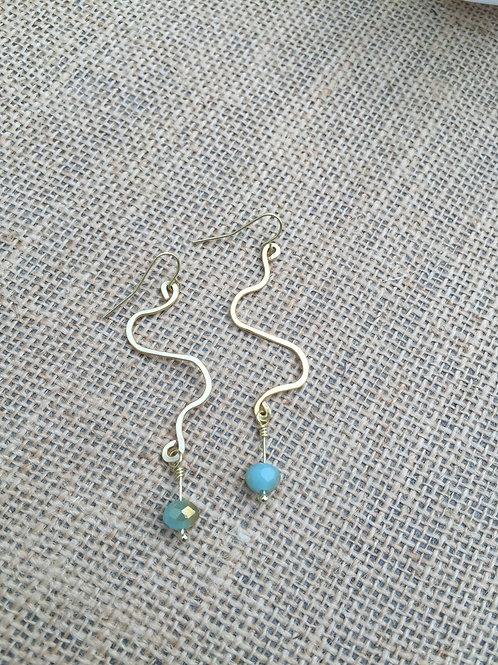 Freeform Gold Wire Dangle Earrings