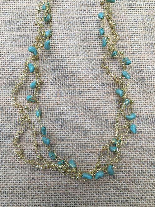 Wire Crochet Necklace with Antique Czech Beads