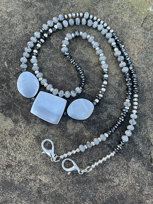 Mask Chain Necklace in Grey and Silver