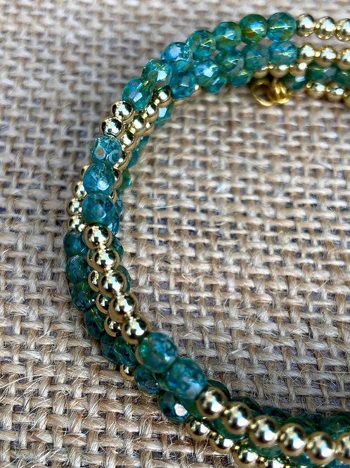 Turquoise and Gold Five Wrap