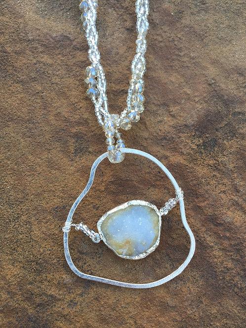 Druzy Pendant on Beaded Chain