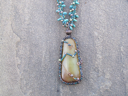 Wire Wrapped Jasper on Beaded Spiral
