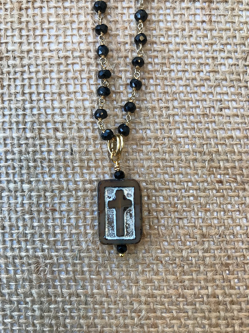 Carved Cross on Black and Gold Gemstone