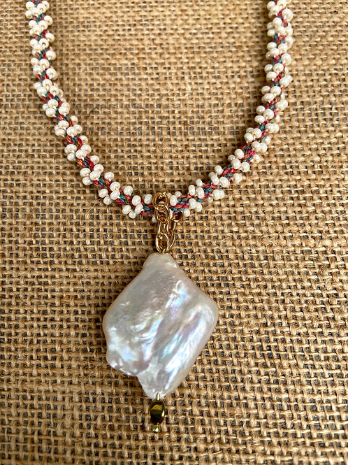 Large Pearl on Woven Rope
