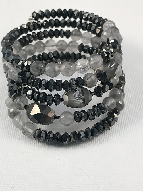 Five Wrap Grey Crystals and Hematite