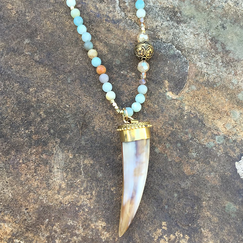 Horn and Brass Pendant on Blue Tones