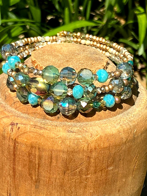 Turquoise and Gold Triple Wrap