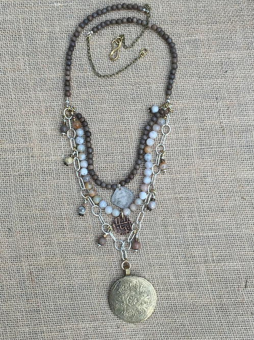 Multi Strand Necklace with Brass Pendant