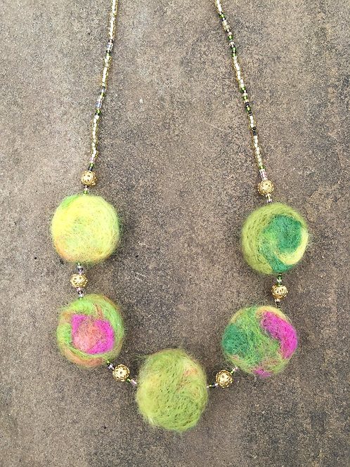 Felted Disc Necklace
