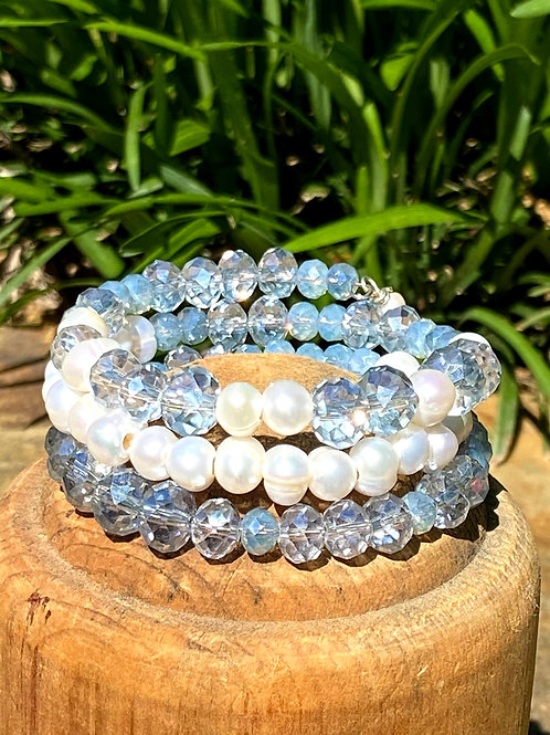 Light Blue Crystals and Pearls