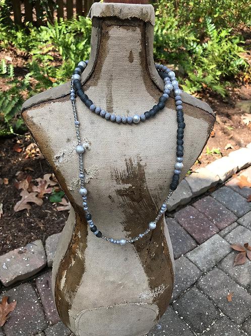Grey Pearls and Crystals