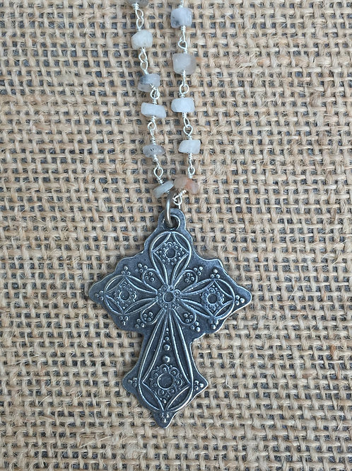 Silver Cross on Gemstone Chain