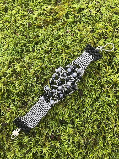 Freeform Grey. Black Crystal Bracelet