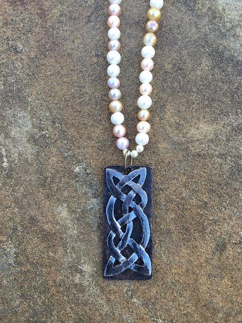 Brass Celtic Pendant on Pearls