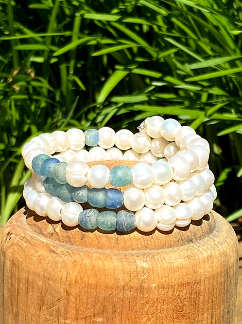 Triple Wrap in Pearls and Blue Glass