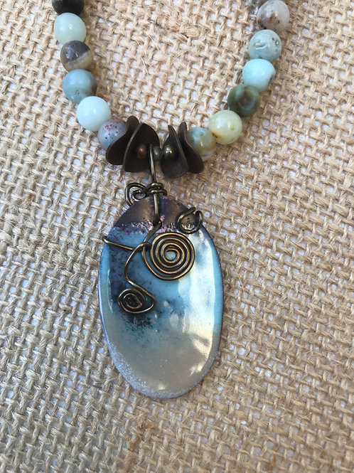 Enamed Copper and Amazonite