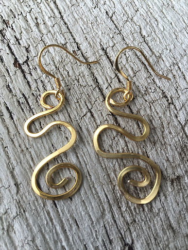Gold freeform earrings