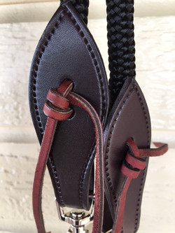 Dark leather on the bit ends