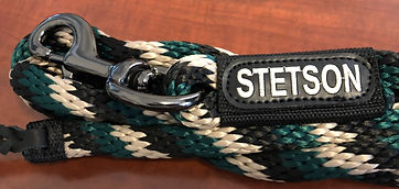 Lead rope personalized with embroidery and leather popper