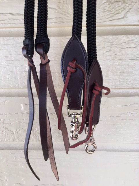Reins shown with dark leather