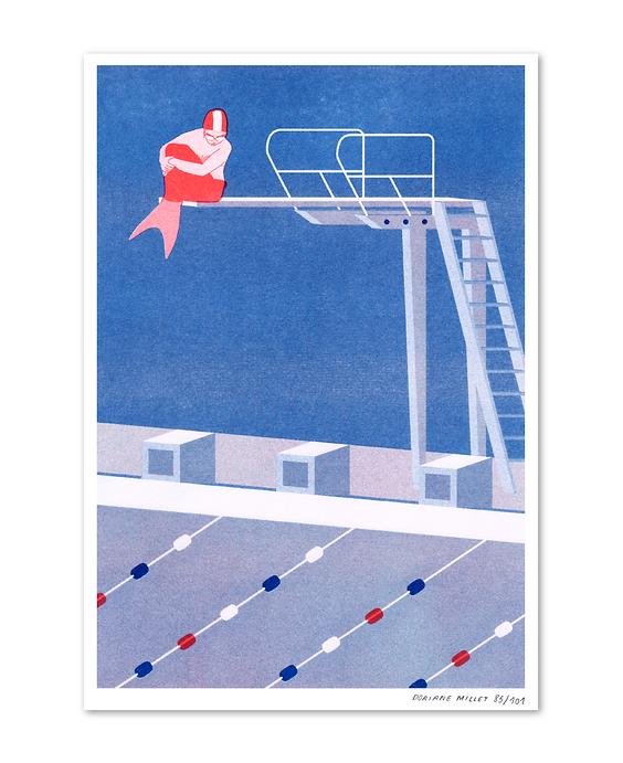 little mermaid riso print