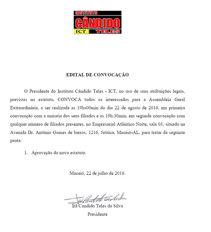 EDITAL DE CONVOCAÇÃO INSTITUTO CÂNDIDO TELES