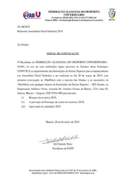 EDITAL DE CONVOCAÇÃO AGO 2019