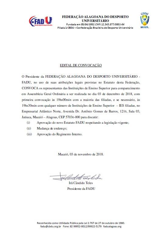 ASSEMBLEIA GERAL EXTRAORDINÁRIA CONVOCAÇÃO