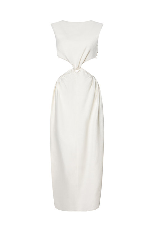 Back-Knotted Silk Dress