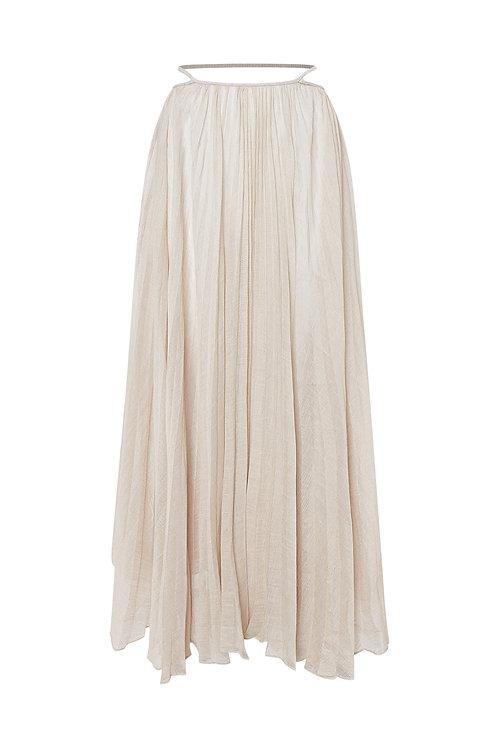 Pleated Sheer Linen-Blend Skirt