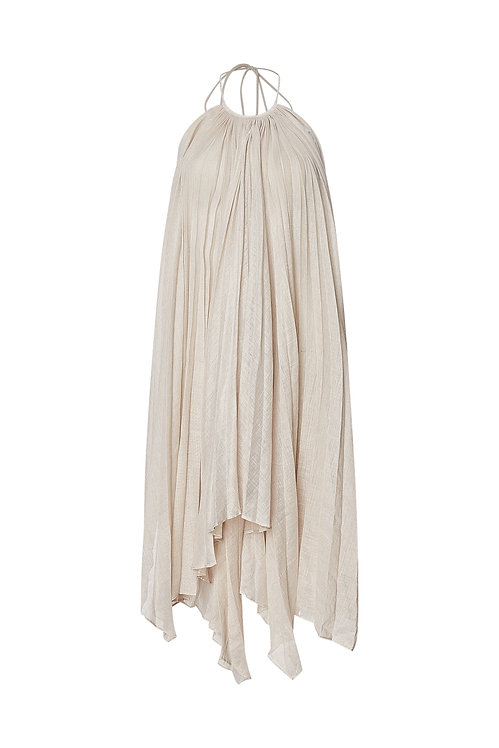 Áo Yếm Pleated Linen-Blend Top