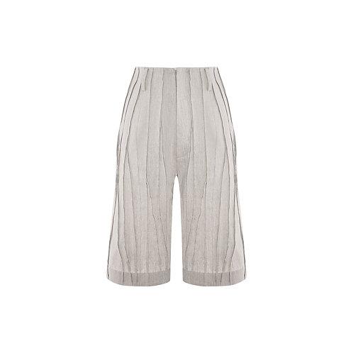 Smocked Linen-Blend Bermuda Shorts