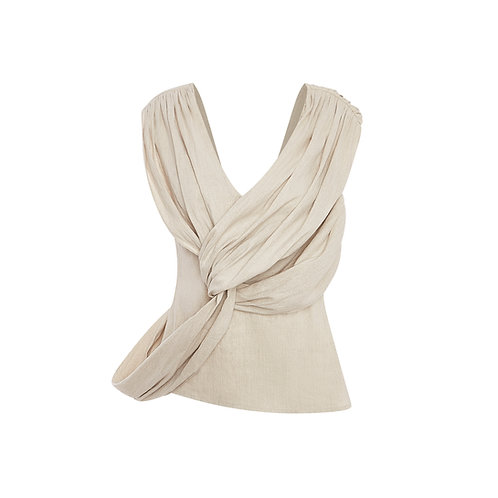 Knotted Linen-Blend Top