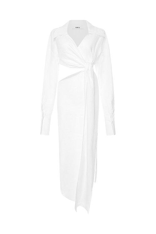 CUT - OUT LINEN SHIRT DRESS
