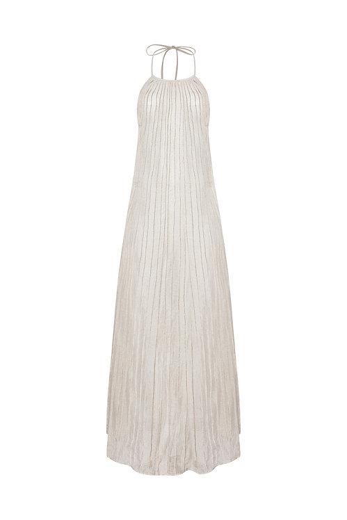 Ao Yem Pleated Long Silk Dress