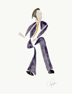 Dancing Male in Purple Abstract