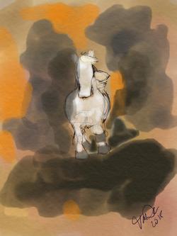 Horse running on orange