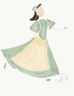 Woman in green dress with apron