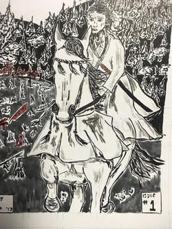 Kiseki woman riding ink on paper
