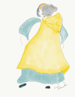 Woman in Yellow cape