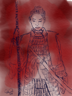 Female warrior in red