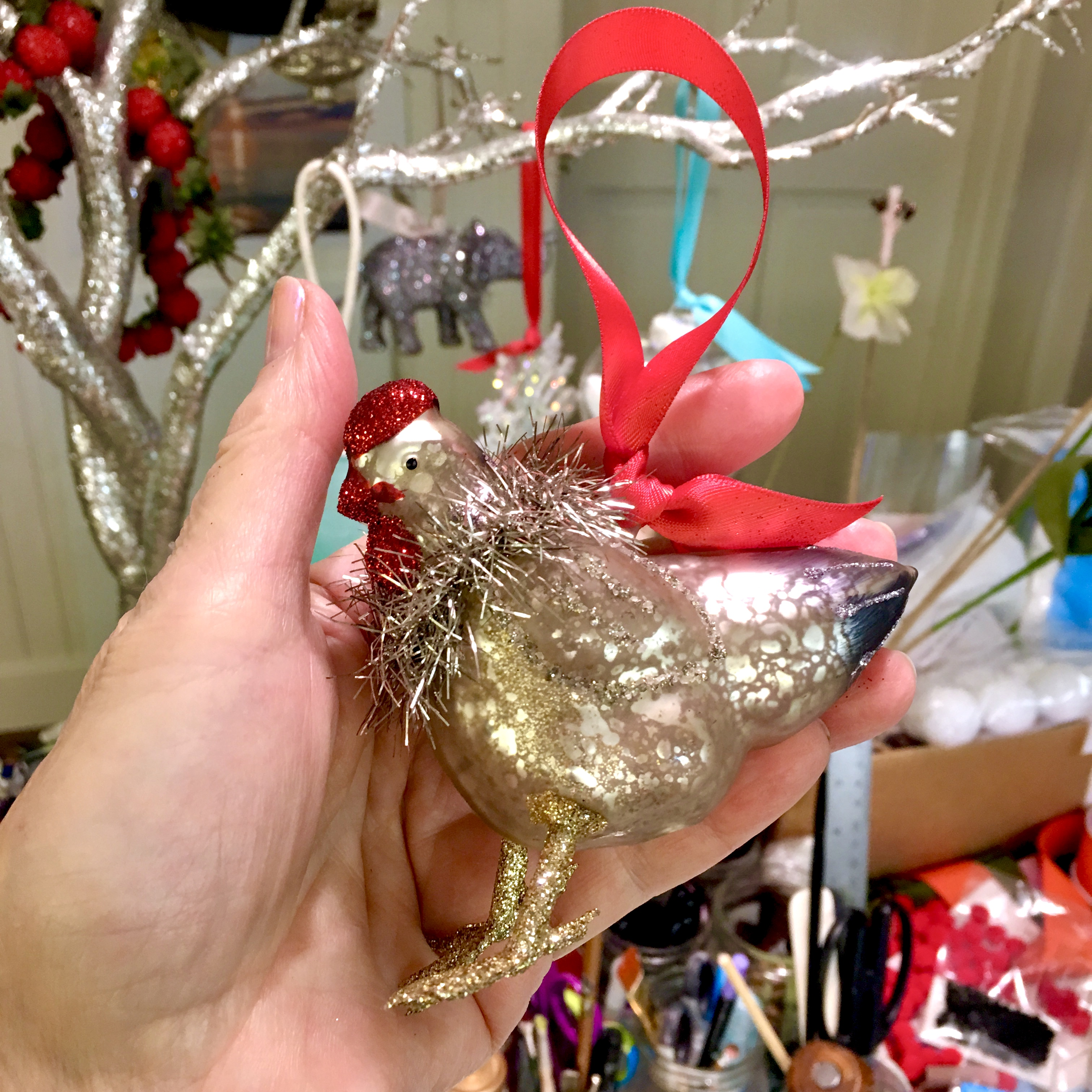 glass hen ornament
