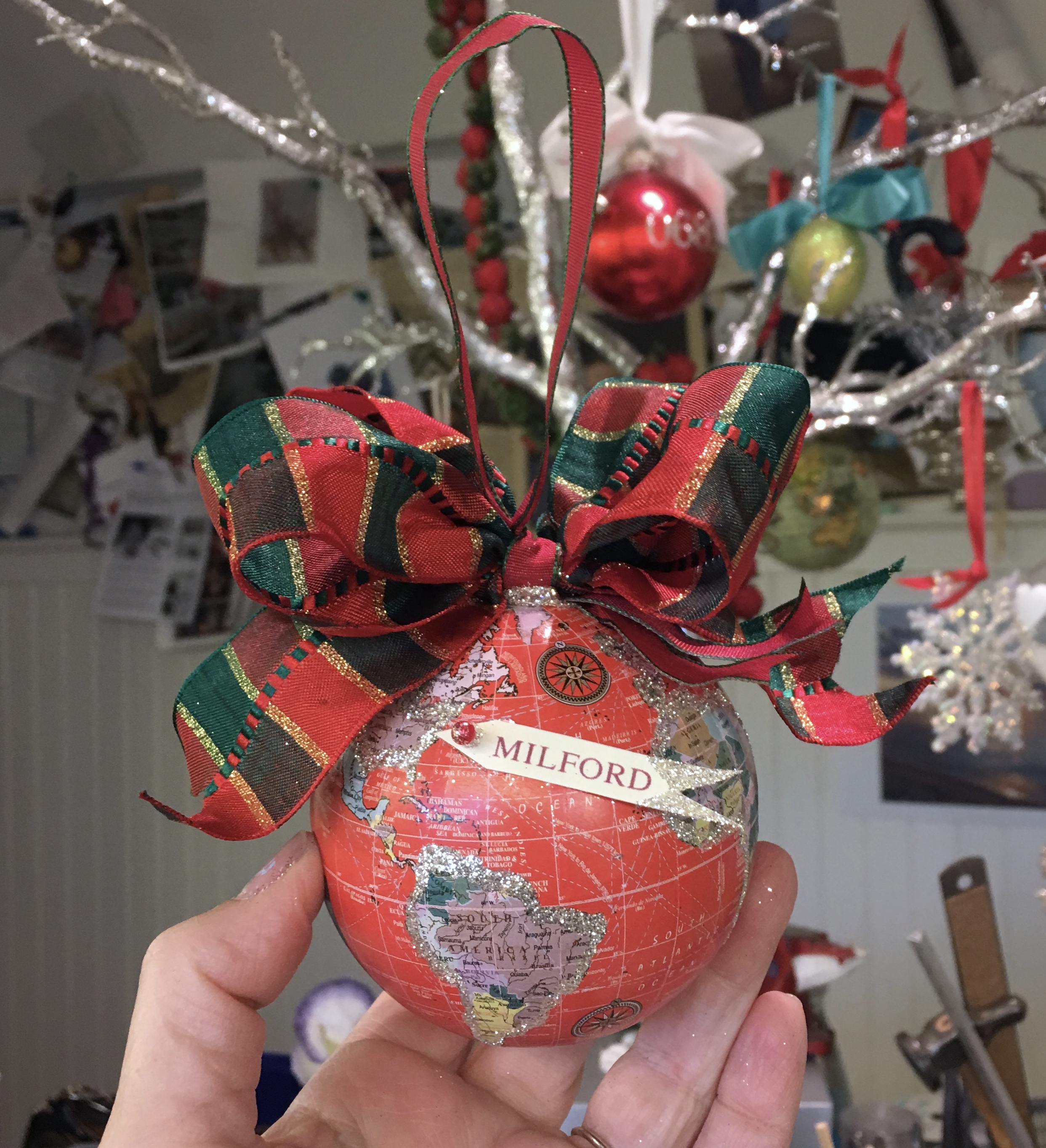 globe ornament with banner