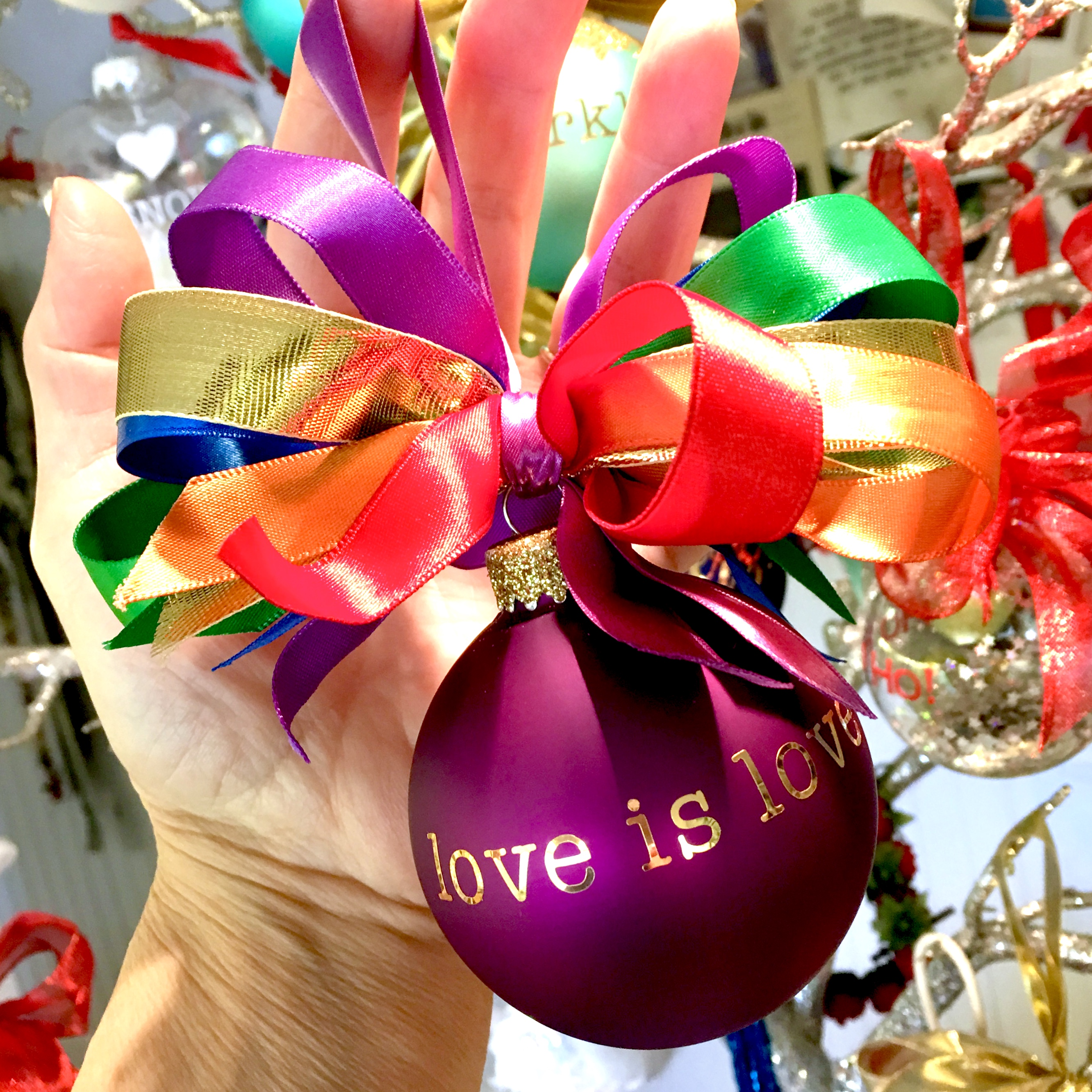 """love is love"" glass ornament"