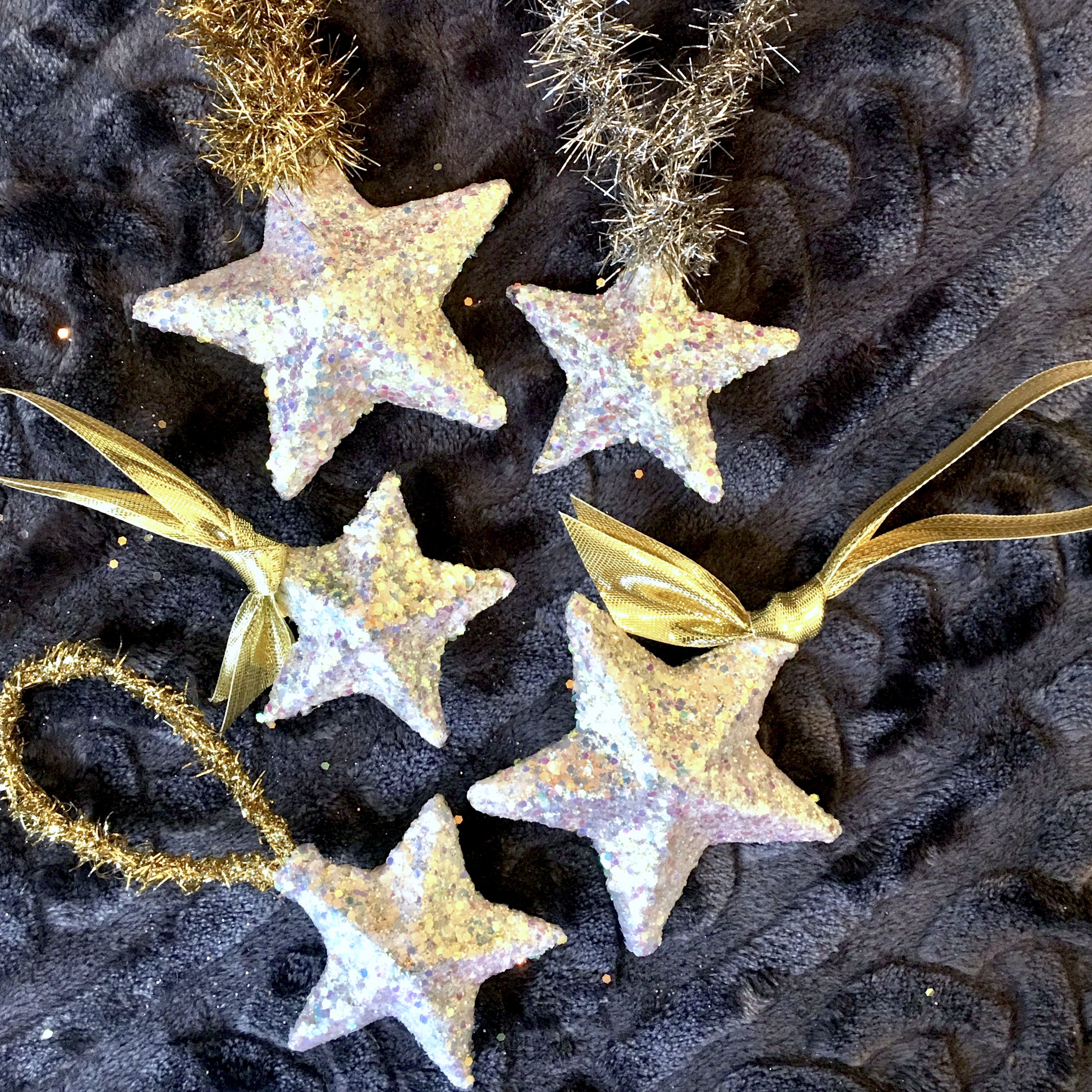 golden glittered 3-D stars
